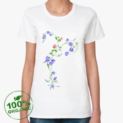 Женская футболка из органик-хлопка  Вьющиеся цветы