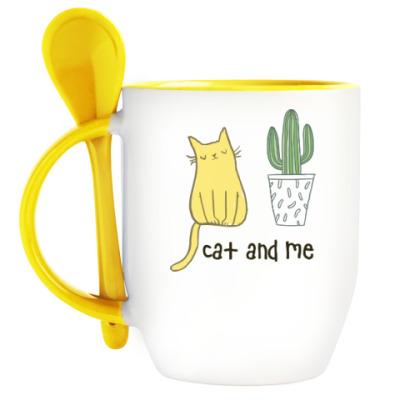 Кружка с ложкой Cat and me
