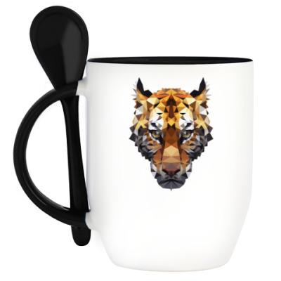 Кружка с ложкой Тигр / Tiger