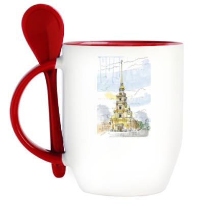 Кружка с ложкой Петропавловская крепость