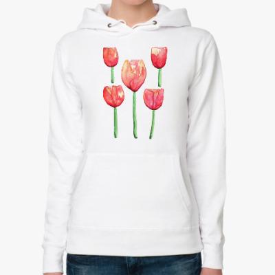 Женская толстовка худи тюльпаны