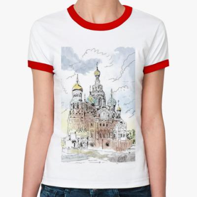 Женская футболка Ringer-T Собор Спас-на-Крови. Питер