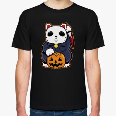 Футболка Halloween Maneki Neko и тыква