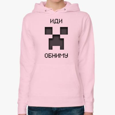 Женская толстовка худи Иди Обниму Minecraft Creeper