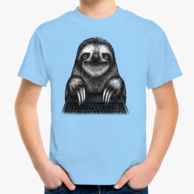 Детская футболка Ленивец компьютерный