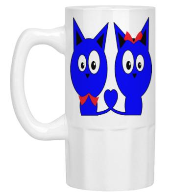 Пивная кружка Влюбленные котики