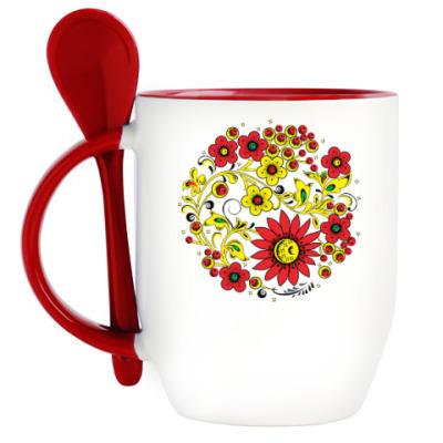 Кружка с ложкой Цветник