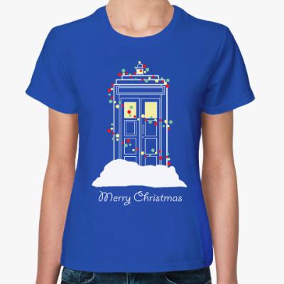 Женская футболка Новогодний Тардис Доктор Кто