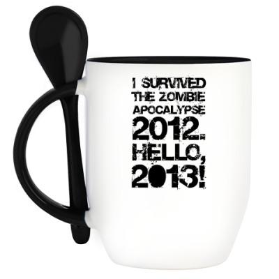 Кружка с ложкой I survived 2012. Hello, 2013!