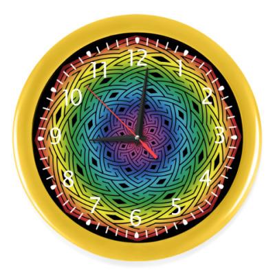 Настенные часы Радужная мандала символ добра