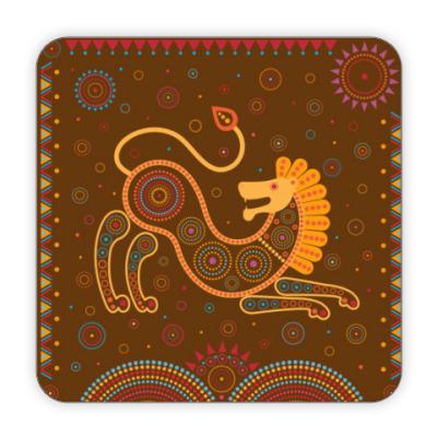 Костер (подставка под кружку) Лев в этностиле