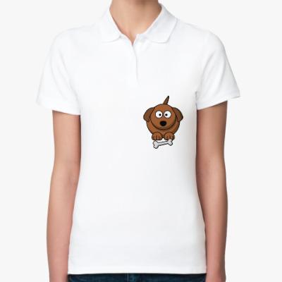 Женская рубашка поло Собачка с косточкой