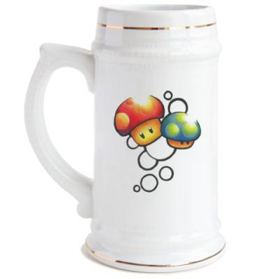 Пивная кружка Mario Mushrooms