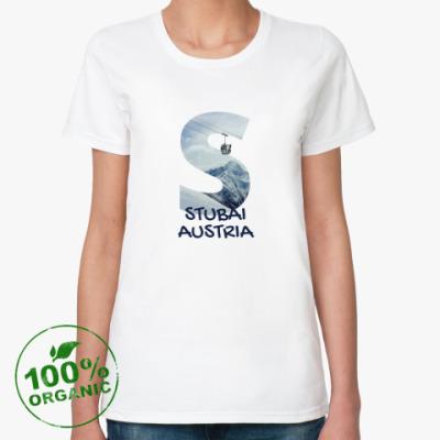 Женская футболка из органик-хлопка Горы, Штубай, Австрия