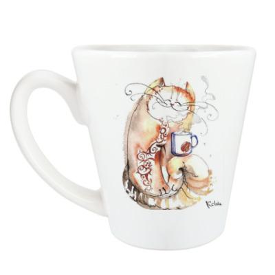 Чашка Латте Кофе и Кот