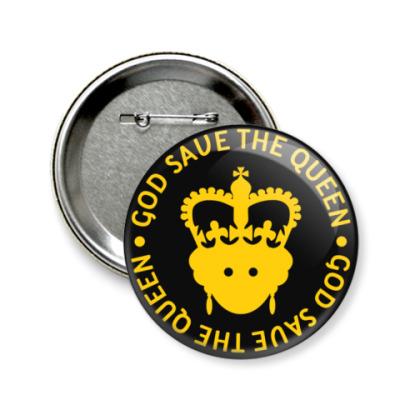 Значок 58мм  Королева Елизавета II