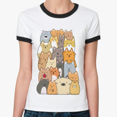 Женская футболка Ringer-T Смешные коты (funny cats)