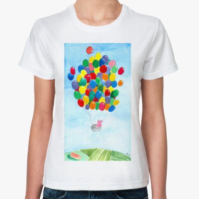 Классическая футболка Свинка на воздушных шариках