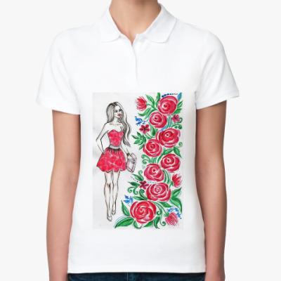 Женская рубашка поло Розы