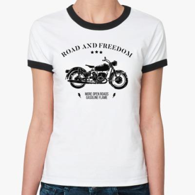 Женская футболка Ringer-T Король дорог (мотоцикл)