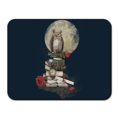 Коврик для мыши Мудрая сова и книги