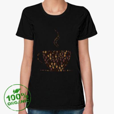 Женская футболка из органик-хлопка Кофе из кофейных зерен