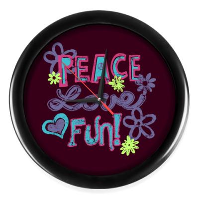 Настенные часы Мир, Любовь, Веселье!