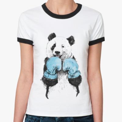 Женская футболка Ringer-T Панда боксер