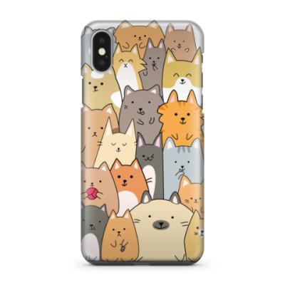 Чехол для iPhone X Смешные коты (funny cats)