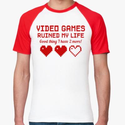 Футболка реглан Video games ruined my life
