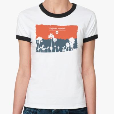 Женская футболка Ringer-T Город в Калифрнии (USA)