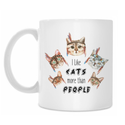 Кружка I like cats more than people (with cats pattern)