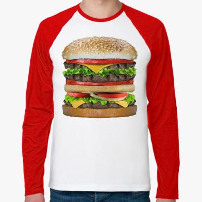 Футболка реглан с длинным рукавом Вкусняшка гамбургер