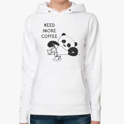 Женская толстовка худи Панда хочет больше кофе
