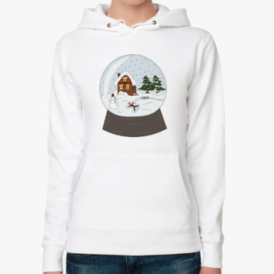 Женская толстовка худи Стеклянный шар со снегом и домиком