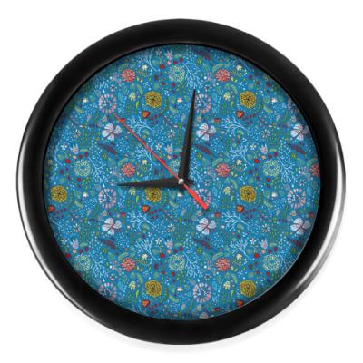 Настенные часы Часы с цветочным принтом