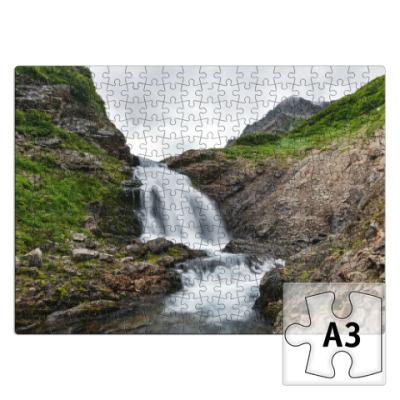 Пазл Камчатка, водопад на реке