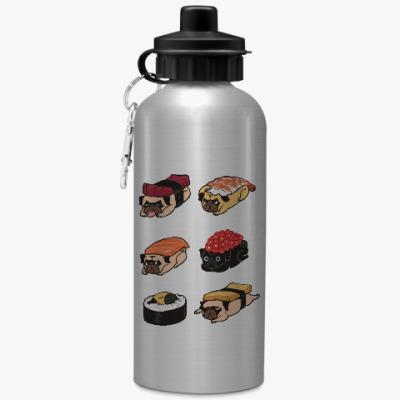 Спортивная бутылка/фляжка Суши мопс