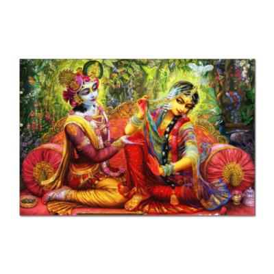 Наклейка (стикер) Krishna and Radha