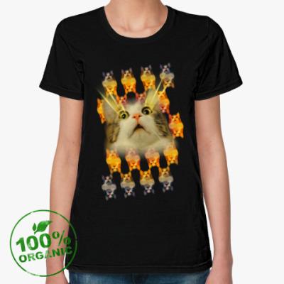 Женская футболка из органик-хлопка Котенька в шоке