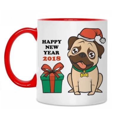 Кружка Новогодняя 2018 Год собаки