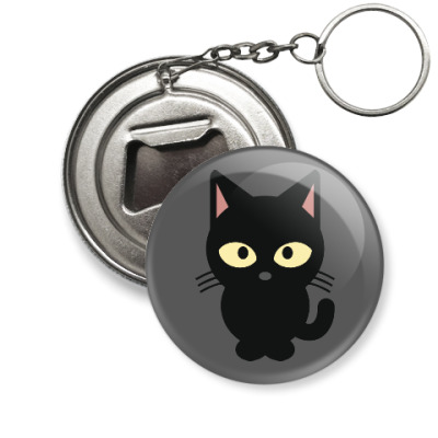 Брелок-открывашка Черный Котик