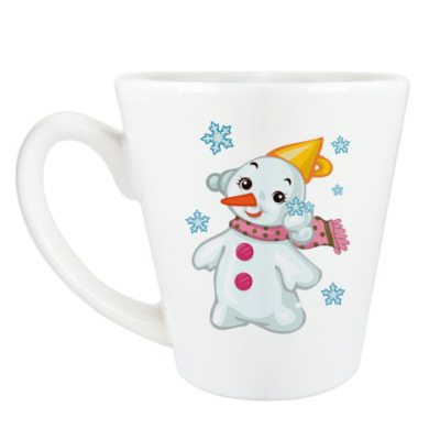 Чашка Латте Снеговик и снежинки