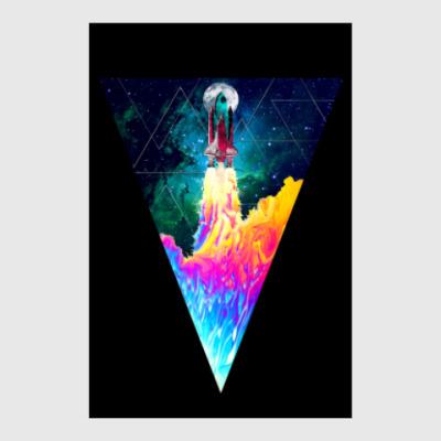 Постер Запуск космического корабля