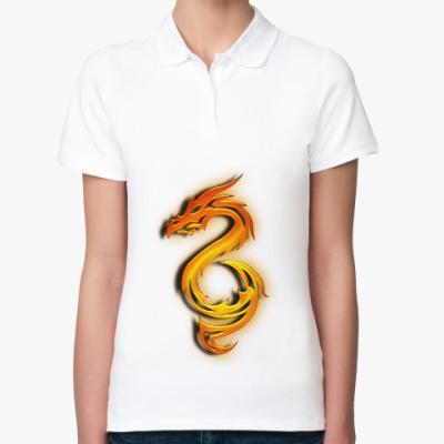 Женская рубашка поло Огненный дракон