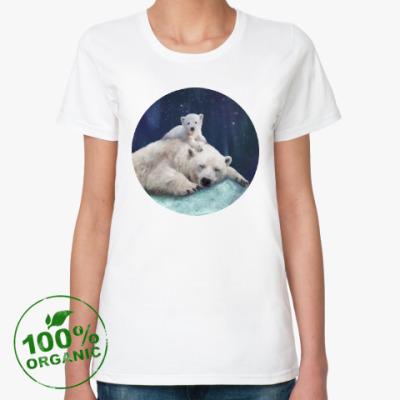 Женская футболка из органик-хлопка Полярные белые медведи