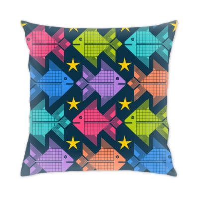 Подушка Цветные рыбки и звёзды