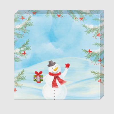 Холст Зимнее настроение / Снеговик