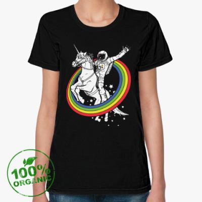 Женская футболка из органик-хлопка Космонавт на единороге