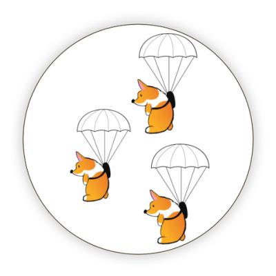 Костер (подставка под кружку) смешные собаки корги